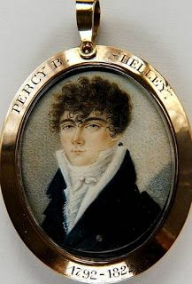 """This is a rare miniature portrait of the poet Percy Bysshe Shelley (1792-1822). He was one of the major English Romantic poets and is critically regarded as among the finest lyric poets in the English language. Shelley was famous for his association with John Keats and Lord Byron. The novelist Mary Shelley was his second wife.  The miniature is in a contemporary frame which is inscribed """"Percy B Shelley 1792-1822"""". The writing style appears to be consistent with a date of around 1825."""