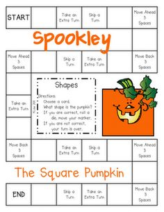 Here's a great game on shapes. Pair this with the book THE LEGEND OF SPOOKLEY THE SQUARE PUMPKIN by Jim Troiano.