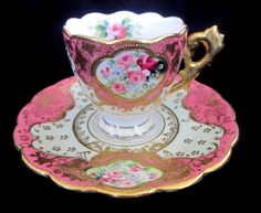 Vintage Hand Painted Demitasse Cup & Saucer with Gold Overlay