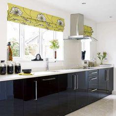 modern kitchen design, black cabinets, black kitchens, kitchen curtains, roman shades