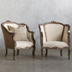 Loe this design! Eloquence One of a Kind Vintage Bergeres Louis XV Faded Mocha Set of 2. #laylagrayce #eloquence