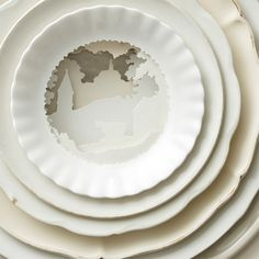 Landscapes Sculpted into Layered Antique Dinner Plates by Caroline Slotte  http://www.thisiscolossal.com/2014/09/landscapes-sculpted-into-layered-antique-dinner-plates-by-caroline-slotte (use paper plates?)