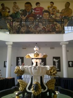 Inside Foyer of Boxer Mike Tyson's Previous Mansion. Wow, Gilded Lions + Tyson Mural By @Vegas BiLL
