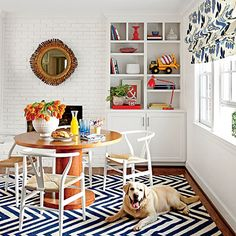 Function and creativity merge in this colorful space that's used as both breakfast nook and crafting corner.