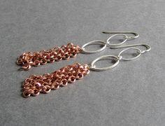 Splash Earrings - Sterling Silver and Copper Tassel Earrings