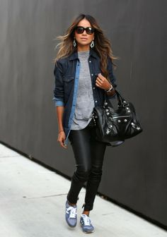 Fashionable Denim Jacket with Trendy Skinnies