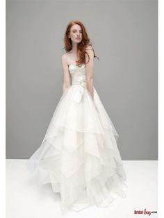 Fashionable Floral Sash Organza Ruffled Lace Wedding Dresses