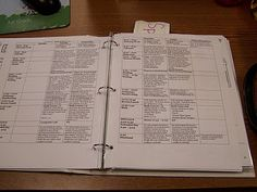 Great organization idea! Print off lesson plans for the week, three whole punch them and place in binder. Behind the plans, put one of each handout in a protective sleeve; this way you can take sheet protector and have everything to copy in one place. Have a binder for every month. Free printable month labels with post.