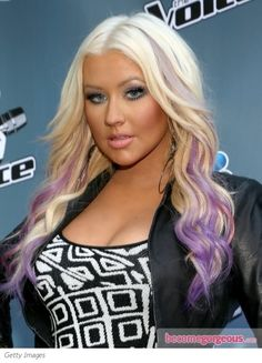 Christina Aguilera's Hair with Purple Colored Streaks