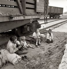 """August 1939. Agricultural migrants. """"Family who traveled by freight train. Toppenish, Washington. Yakima Valley."""" by Dorothea Lange"""