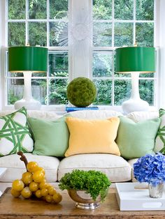 Sara Tuttle Interiors - living rooms - green and white pillows, green and white cane pillow, green pillows, yellow velvet pillows, silver va...