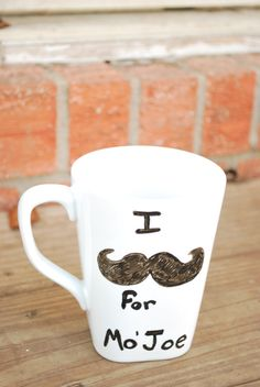 Hand Painted Mustache Coffee Mug   Says I by 90DegreeAngle on Etsy, $11.00