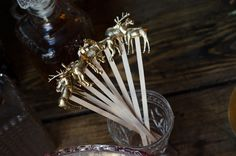 DIY gold animal drink stirrers