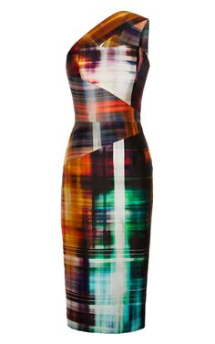 One Shoulder Plaid Shift Dress With Built-In Bustier by Michael Angel for Preorder on Moda Operandi