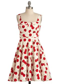 Pull Up a Cherry Dress in White - Red, A-line, Tank top (2 thick straps), Rockabilly, Fruits, Green, Novelty Print, Casual, Summer, Print, White, Best Seller, Fit & Flare, Cotton, Variation, Pinup, Mid-length, Statement, Sundress