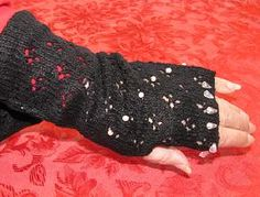 Fingerless Gloves machine knitted lace with pearls added for accent.