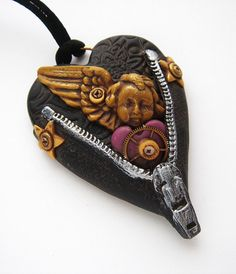 Unzipped Heart 50 Renaissance by mariesegal on Etsy, polymer clay