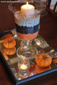 Halloween Hurricanes from My Heart's Desire Simple way to get some Halloween color in your decor ~ layer dried beans!