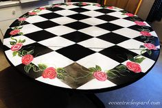 The Eccentric Leopard: Painted Table - Harlequin and Roses
