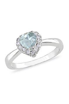 14K White Gold Pave Diamond & Aquamarine Heart Ring