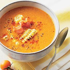 roasted tomato and corn soup... yummy!
