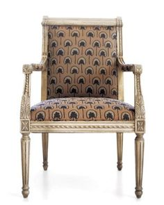 Interesting idea for the greek dining room - take a classic chair and reupholster
