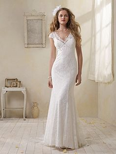 Modern Vintage Alfred Angelo Style 8501 - Lace over Charmeuse, Rhinestones, Crystal Beading, Pearls Chapel Train