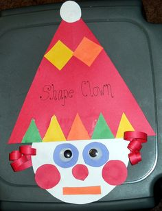Shapes craft - triangle, circle, square, rectangle. teaching shapes, circus theme, clown, shape art, family crafts, shape crafts, kid crafts, sorting activities, math crafts