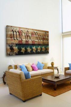 We the People Brown Distressed Wood Wall Art by Parvez Taj Art on @HauteLook