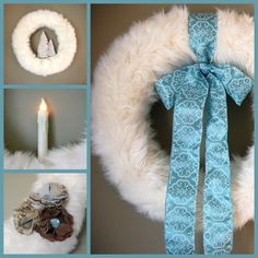 wreath DIY. I have never thought to wrap faux fur around a wreath...gorgeous!