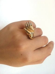 Brass Hand Cocktail Ring Hand Carved by LauraBusony on Etsy