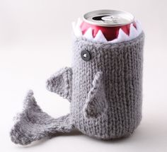 Shark Drink Cozy - Keep your drink insulated and your hands dry with this cute monster shark drink cozy. Hand knit from machine washable acrylic, these shark drink cozies come in a variety of colors and make a great gift for a Shark Week themed drinking party!