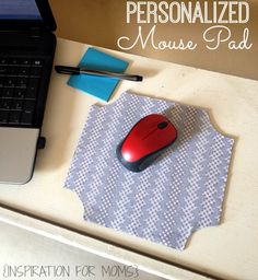 Make a personalized mouse pad in about 15 minutes with this easy tutorial - great Easter basket present! www.inspirationformoms.com #mousepad #recycle #DIYtutorial