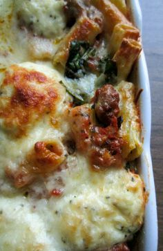 Baked Sausage Rigatoni with Spinach
