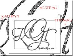 "This monogram was ordered as a wedding gift. I drew the letter ""K"" with the first name of the bride KATHRYN, the letter ""G"" with their last name GATEAU, and the letter ""T"" with the groom's name THOMAS."