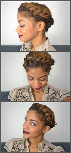 girl hair, halo braid, halo twist, goddess braids natural hair, color, braid updo, goddess braids updo, hairstyl, natural hair goddess braid