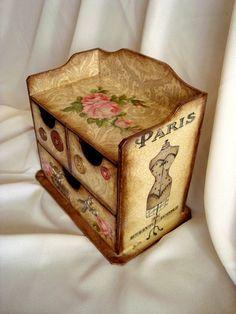 Фото Комод для рукоделия craft, decapado, decor box, decorative boxes, decoupag idea, decoupage, decoupag inspir, caja