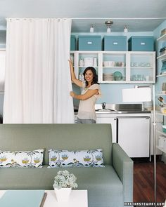 Curtain Room Divider - great idea between dining and living areas, but not a white curtain.