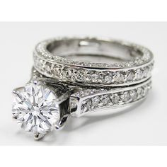 Engagement Ring - Pave Eternity Round Diamond Cathedral Engagement... ($4,360) found on Polyvore