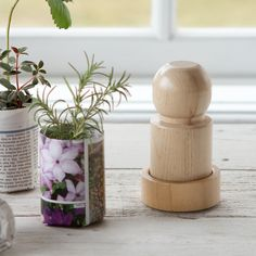 Paper Pot Press  Transform seed catalogs, newspapers, or gift wrap into tiny, biodegradable vessels with just a twist of the wrist, thanks to this easy-to-use wooden pot press. Perfect for seed starting, paper pots can be placed directly into the dirt and will break down as plants take root.