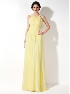 A-Line/Princess Scoop Neck Floor-Length Chiffon Bridesmaid Dress With Ruffle (007022521) - JJsHouse