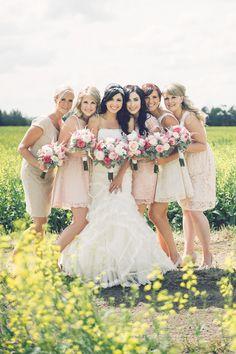 blush bridesmaid dresses http://www.weddingchicks.com/2013/10/02/family-farm-wedding/