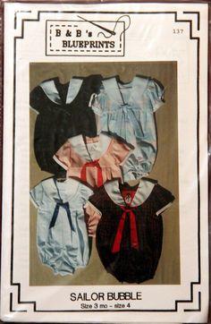 Sailor Bubble Romper Heirloom Sewing Pattern B by StillSewStylish, $6.00