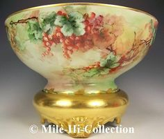 "HUGE BAVARIA HAND PAINTED GOOSE BERRIES 16"" PUNCH BOWL+ PLINTH BASE STAND"