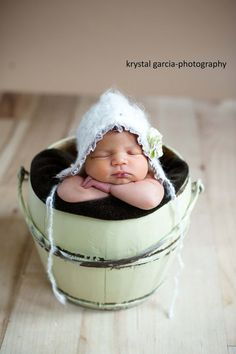 Newborn White Bonnet with Ruffle and Flowers by PetuniaandIvy, $28.00