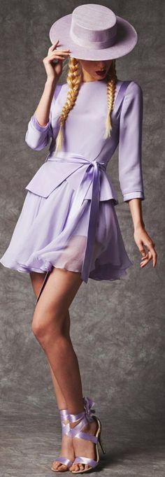 Hasan Hejazi Spring 2014 Collection easter dress, hasan hejazi, lavender shoes, colors, color stories, chiffon, resort fashion, adorable purple dress, hat