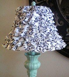 Ribbon ruffled lamp shade craft.