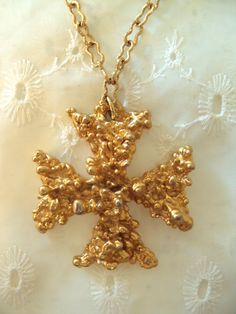 RARE Sascha Brastoff Gold Cross with Original Tag! on Etsy at RetroRosiesVintage $175.00