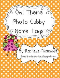 Photo Name Tags - Owl Theme