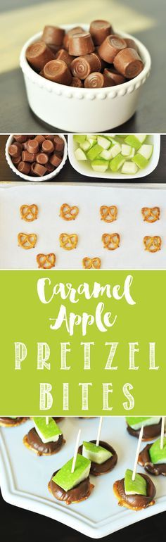 "Caramel Apple Pretzel Bites. Delicious caramel apples that can be made in just minutes! <a href=""http://www.thekusilife.com"" rel=""nofollow"" target=""_blank"">www.thekusilife.com</a>"